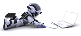 robot with a computer and mouse